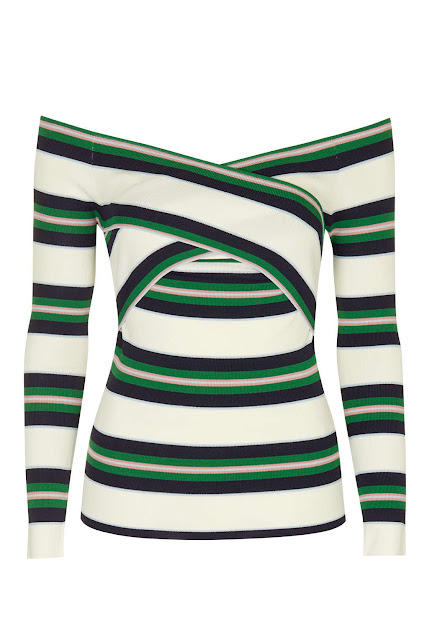bardot stripe top, green pink white stripe top,