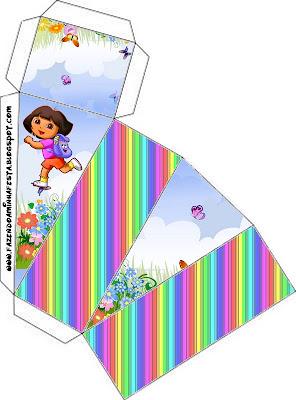 Cajita de Dora la Exploradora para imprimir gratis, para tarta de cajitas