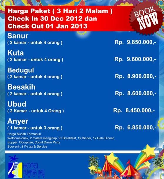 Tarif Diskon Harga Paket Tahun Baru Nuansa Bali Anyer