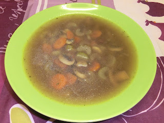 Sherried sherry veggies carrot mushroom celery and red whole grain wild rice soup