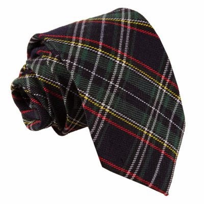 Black Green Red Yellow Tartan Tie