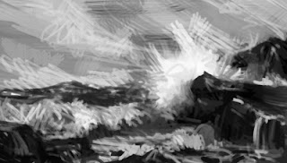 digital seascape rough in grey tones