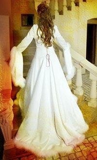 Long sleeves and fur trim christmas wedding gown