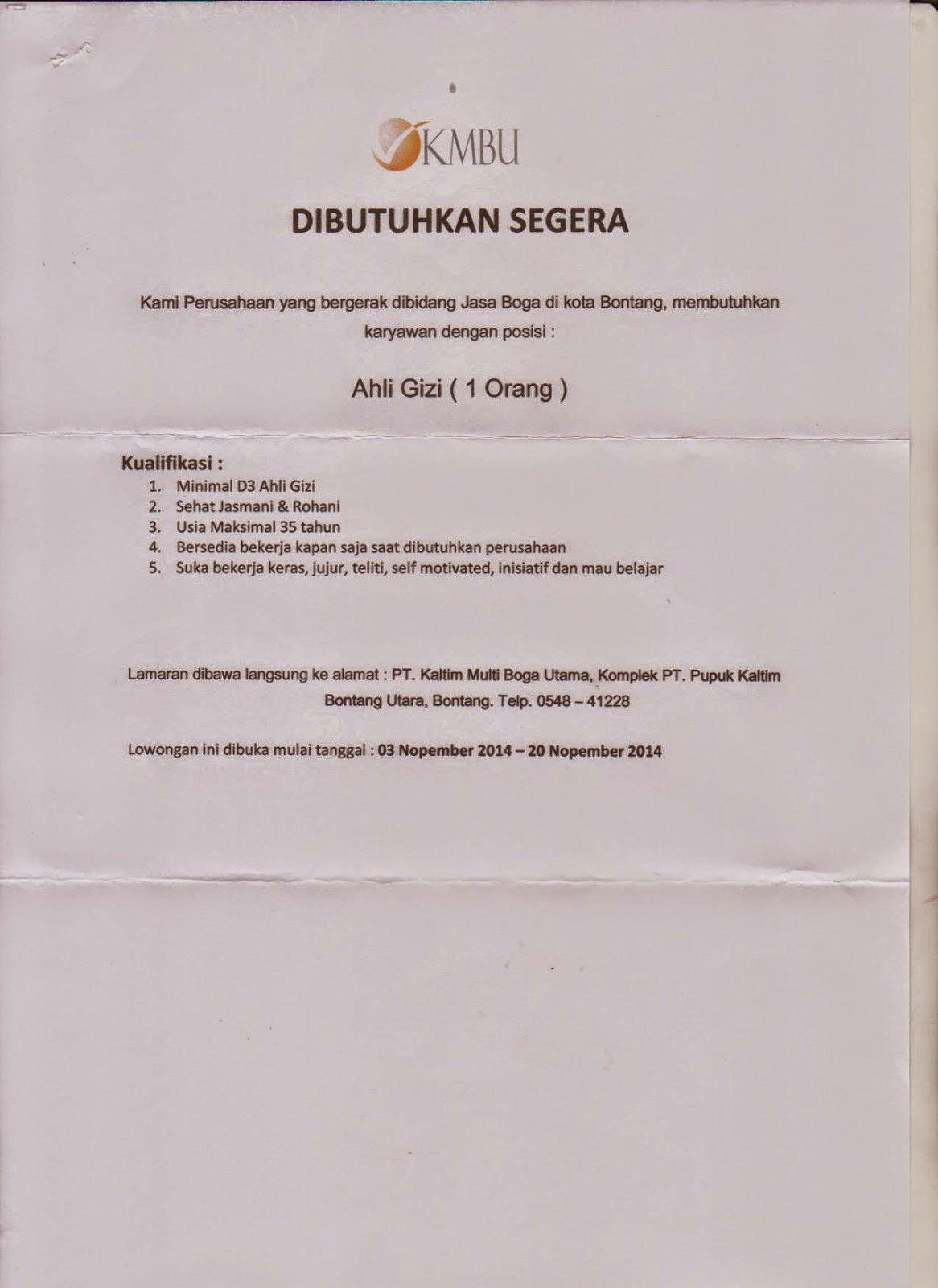Lowongan Kerja D3 Ahli Gizi PT KMBU Bontang