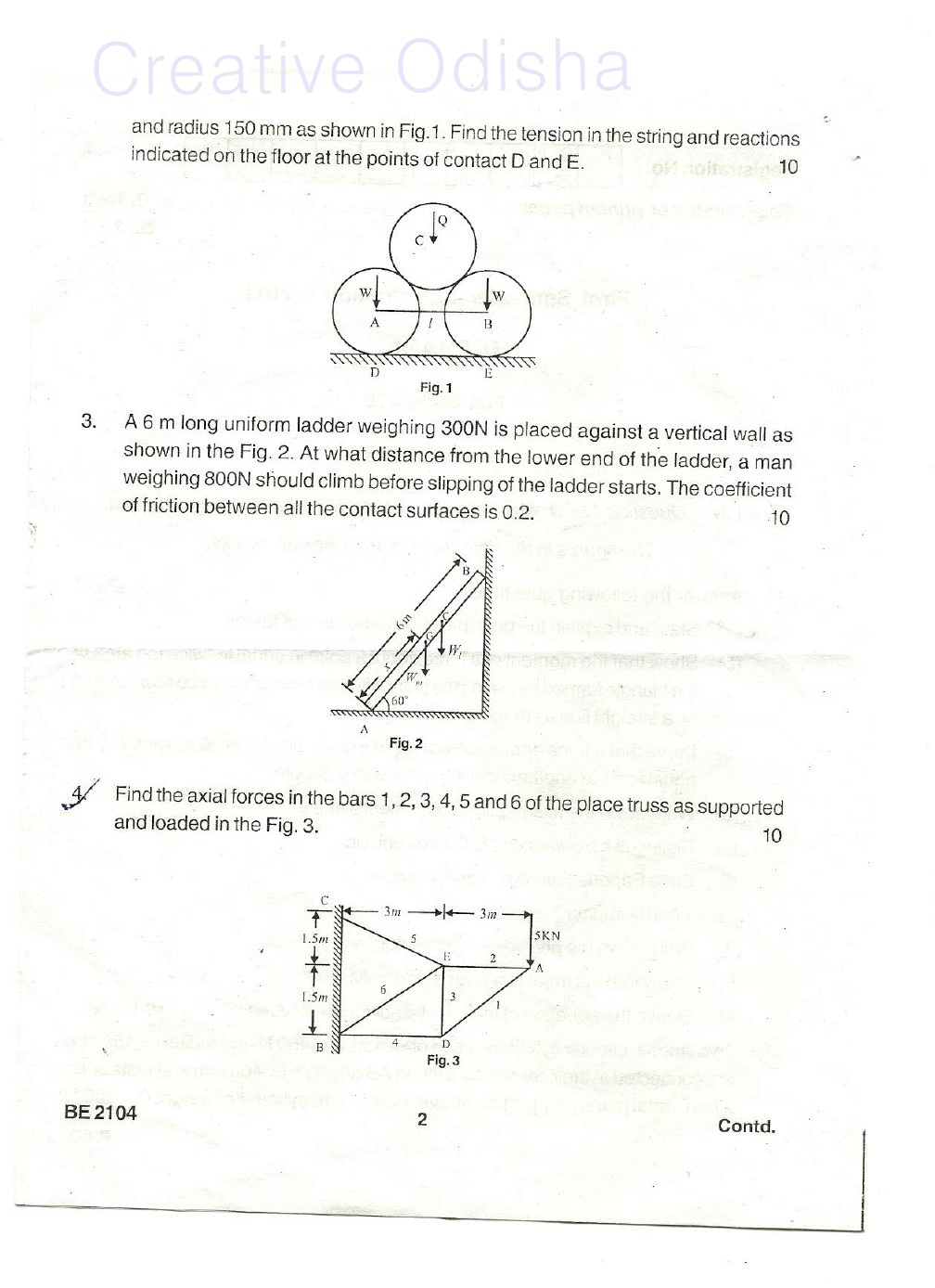 BPUT previous year question paper Of Mechanics, 1st Semester 2011
