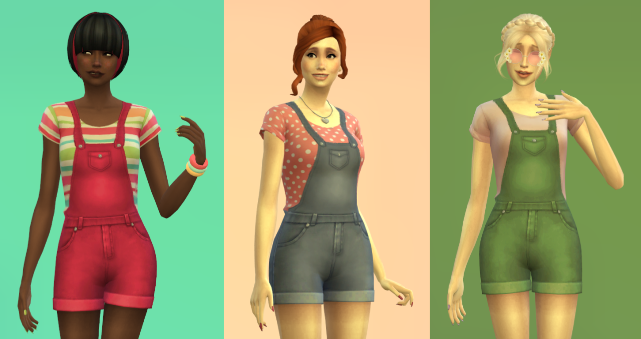 My Sims 4 Blog: Short Overalls for Teen
