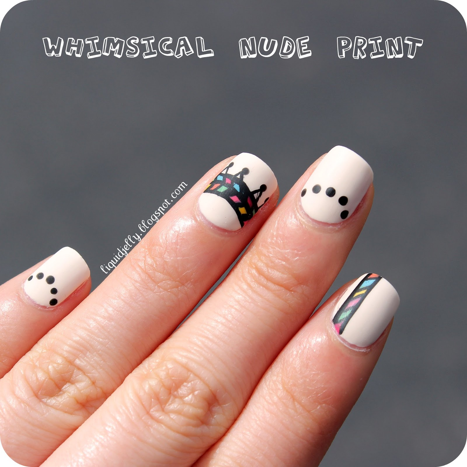 Liquid Jelly: Whimsical Nude Print Nail Art