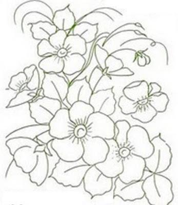 Desenho Lindo Risco Para Pintar Flores Em Tecido Flor Do Campo
