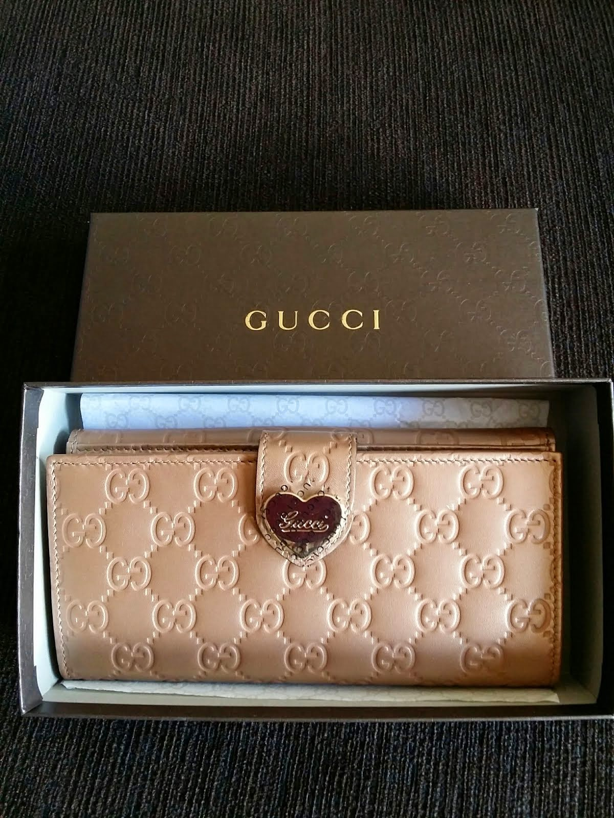 GUCCI HEART GUCCISSIMA LONG WALLET IN ANTIQUE ROSE