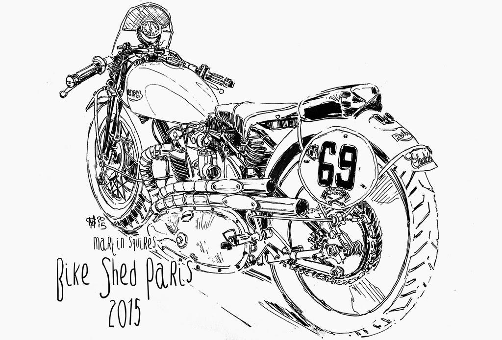 martin squires automotive illustration  the bike shed paris