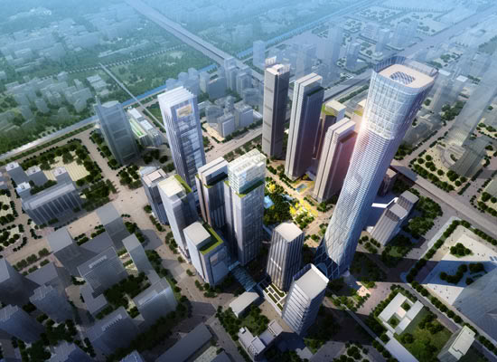 Rendering of China Zun (CITIC Plaza) by TFP Farrells, Beijing, China as seen from the air along with the city in the background, daylight