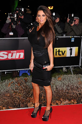 Katie Price Sexy short dress and bare legs at The Sun Military Awards