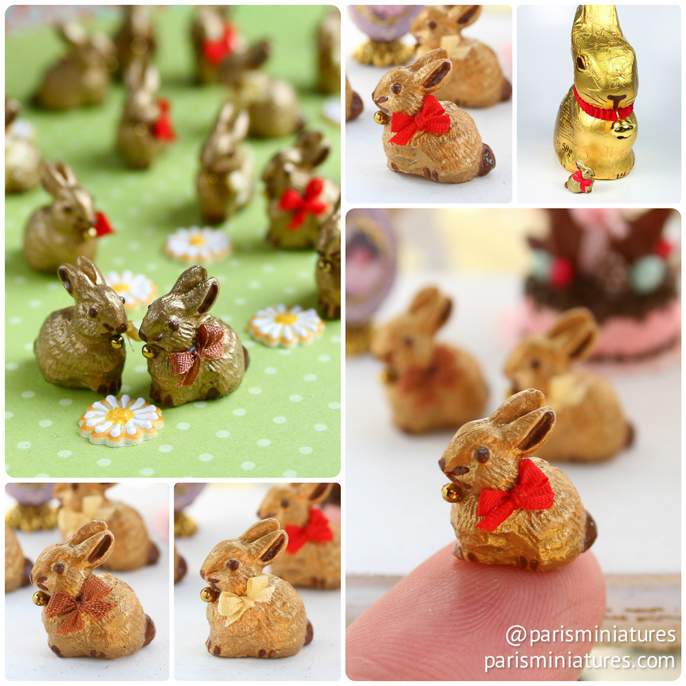 Collage showing miniature gold Lindt chocolate rabbits, bunnies for Easter in 12th scale