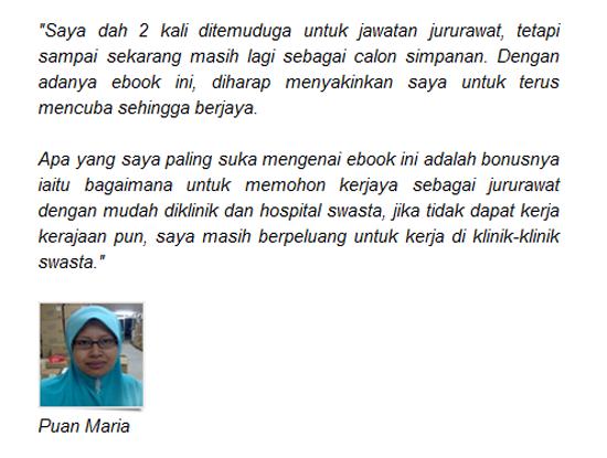 Testimonial pembeli ebook Panduan Lulus Temuduga Kerjaya Jururawat