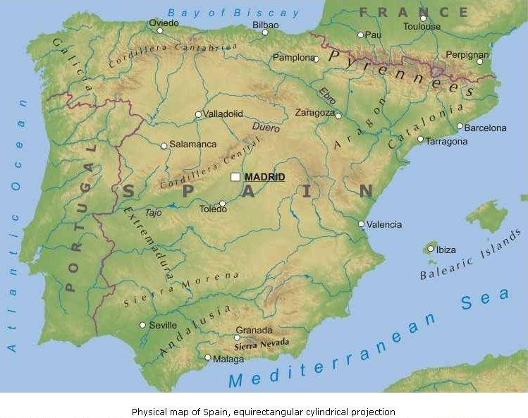 Cartina Muta Della Spagna E Portogallo