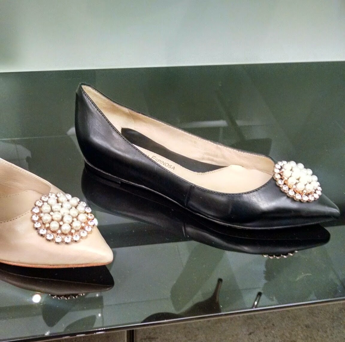 Carolina Espinosa Pointed Flat with Jewels and Pearls