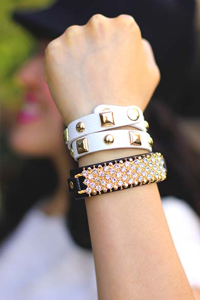 JewelMint Black Pave Glam Cuff and Forever 21 White faux leather studded wrap bracelet