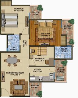The Romano :: Floor Plans,:-Type A:-Super Area - 1260 Sq. Ft