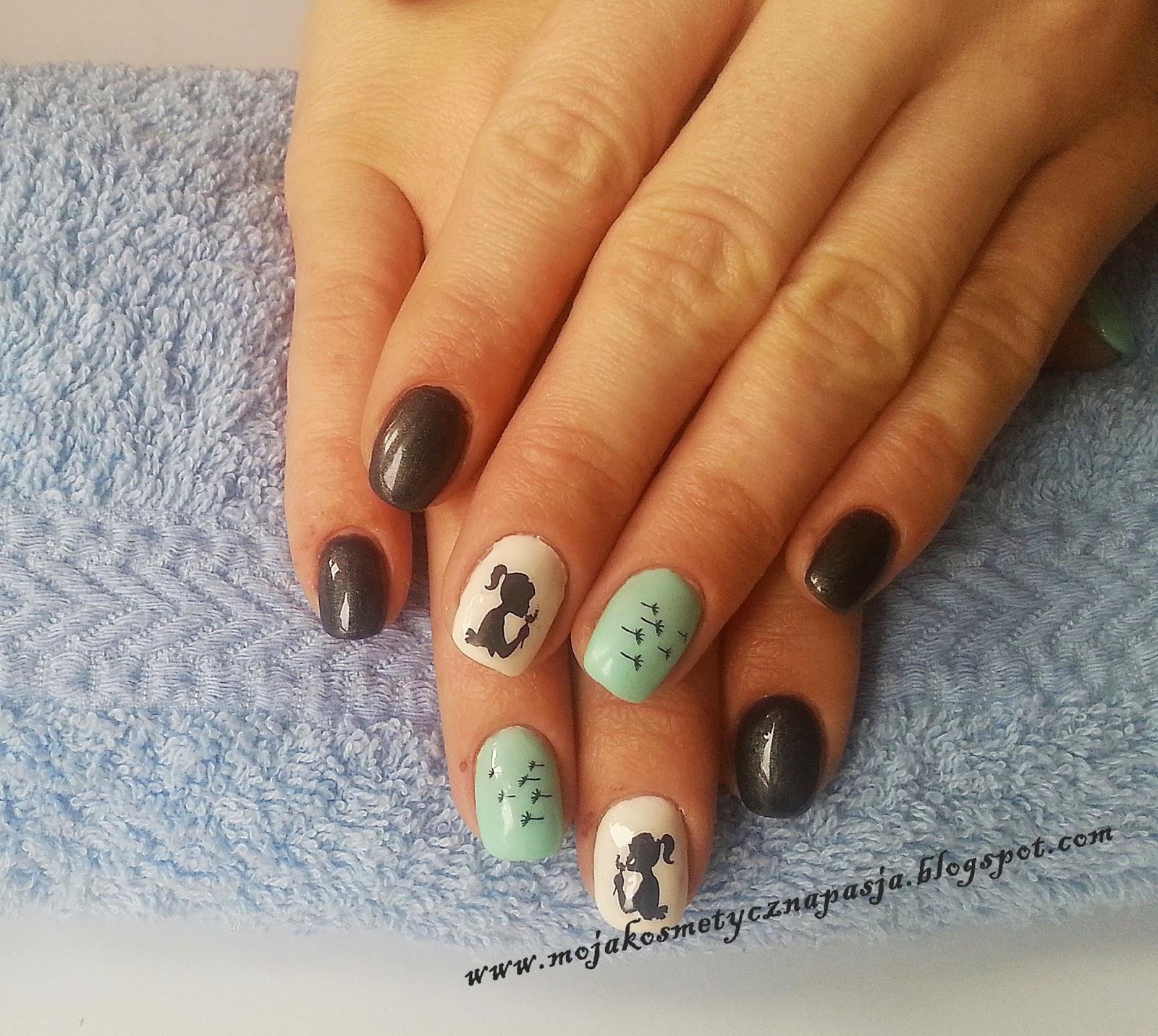 Paznokcie żelowe w kolorystyce czerni, bieli i mięty