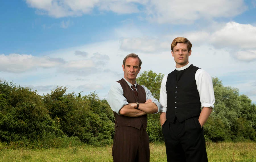 JAMES NORTON as Sidney Chambers and ROBSON GREEN as Geordie Keating in Grantchester