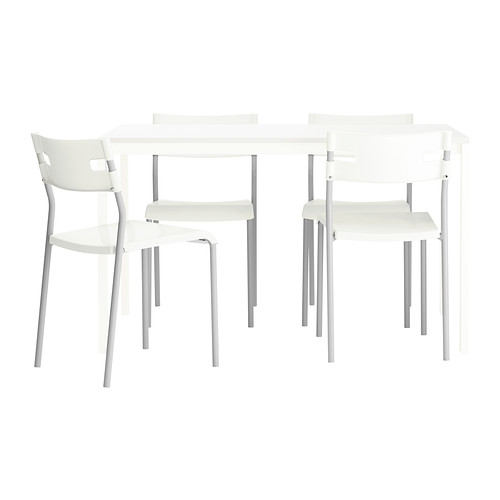 set ikea melltorp laver glass top table 4 chairs silver white