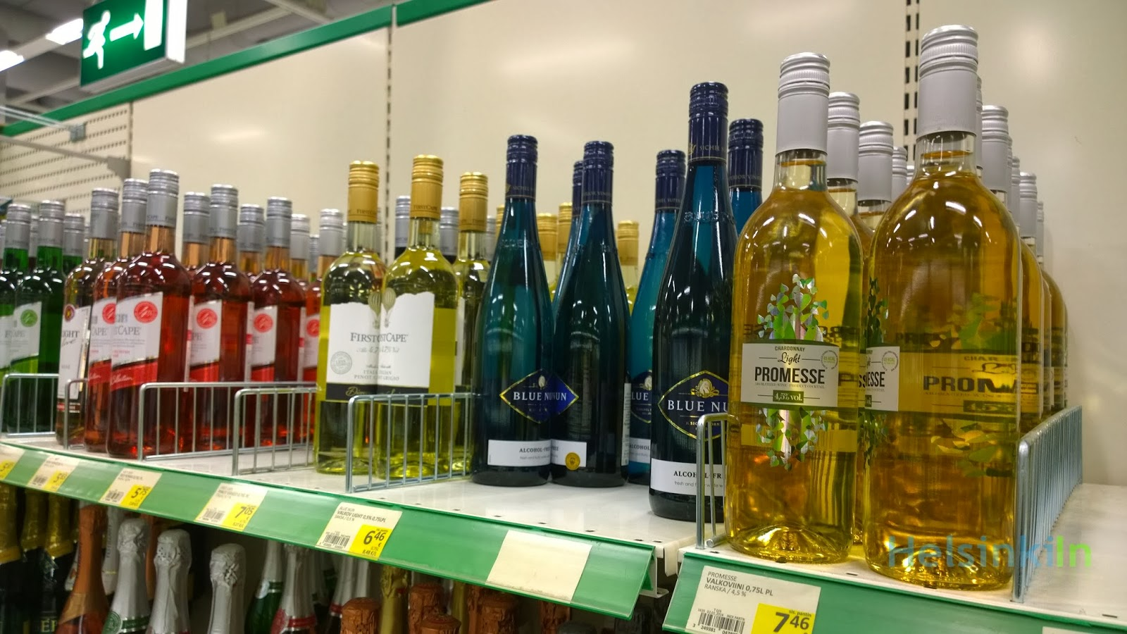 light wines on the shelf in Finnish supermarket