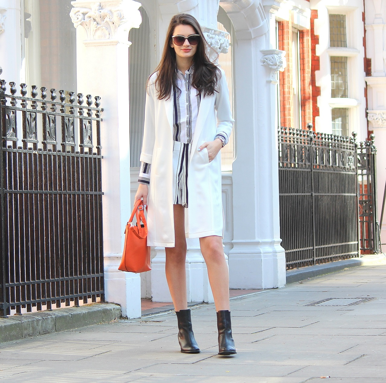 peexo-fashion-blogger-wearing-all-white-stripes-coord-and-longline-blazer-and-orange-bag