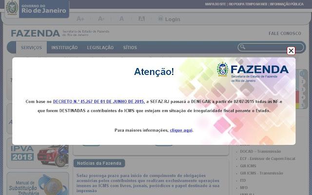 Denegação de NF-e por Irregularidade Fiscal do Destinatário