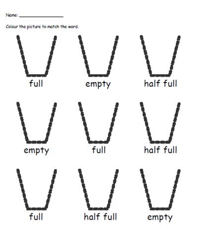 created another worksheet which practised full, half full and empty.