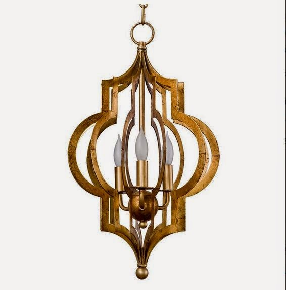 Scarlett Hollywood Regency Gold Leaf Pattern Pendant Chandelier