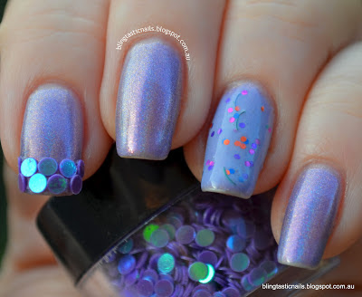 Girly Bits Twitterpated with Purple Circle Glitter accent nail