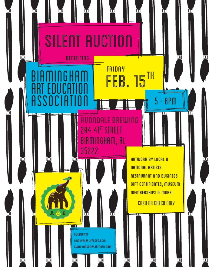 birmingham art educators association baea silent auction flyer