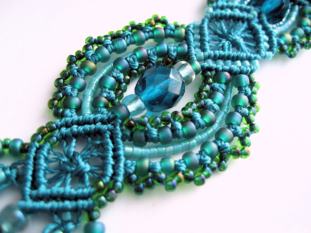 Close up of rounded diamond component in teal micro macrame bracelet by Sherri Stokey