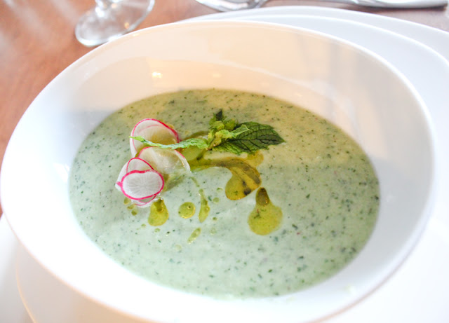 Chilled cucumber and buttermilk soup with cilantro, mint, and dill