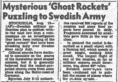 Mysterious 'Ghost Rockets' Puzzling to Swedish Army 8-12-1946