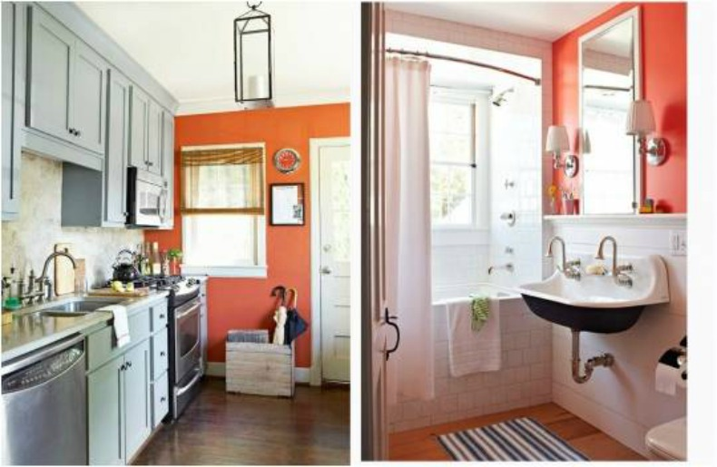 Coral painted walls in coastal spaces