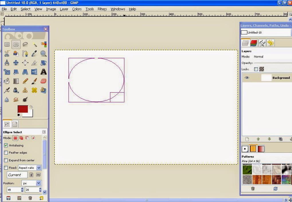 Membuat Garis Lurus, Bebas, Lingkaran dan Segi Empat Di GIMP 4
