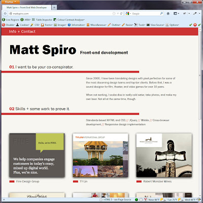 Screen shot of http://mattspiro.com/.