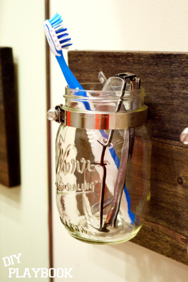 Toothbrush and Glasses in mason jar