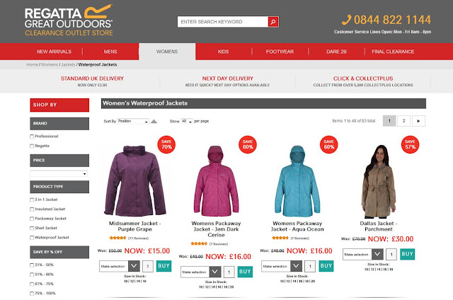 Regatta outlet store webpage