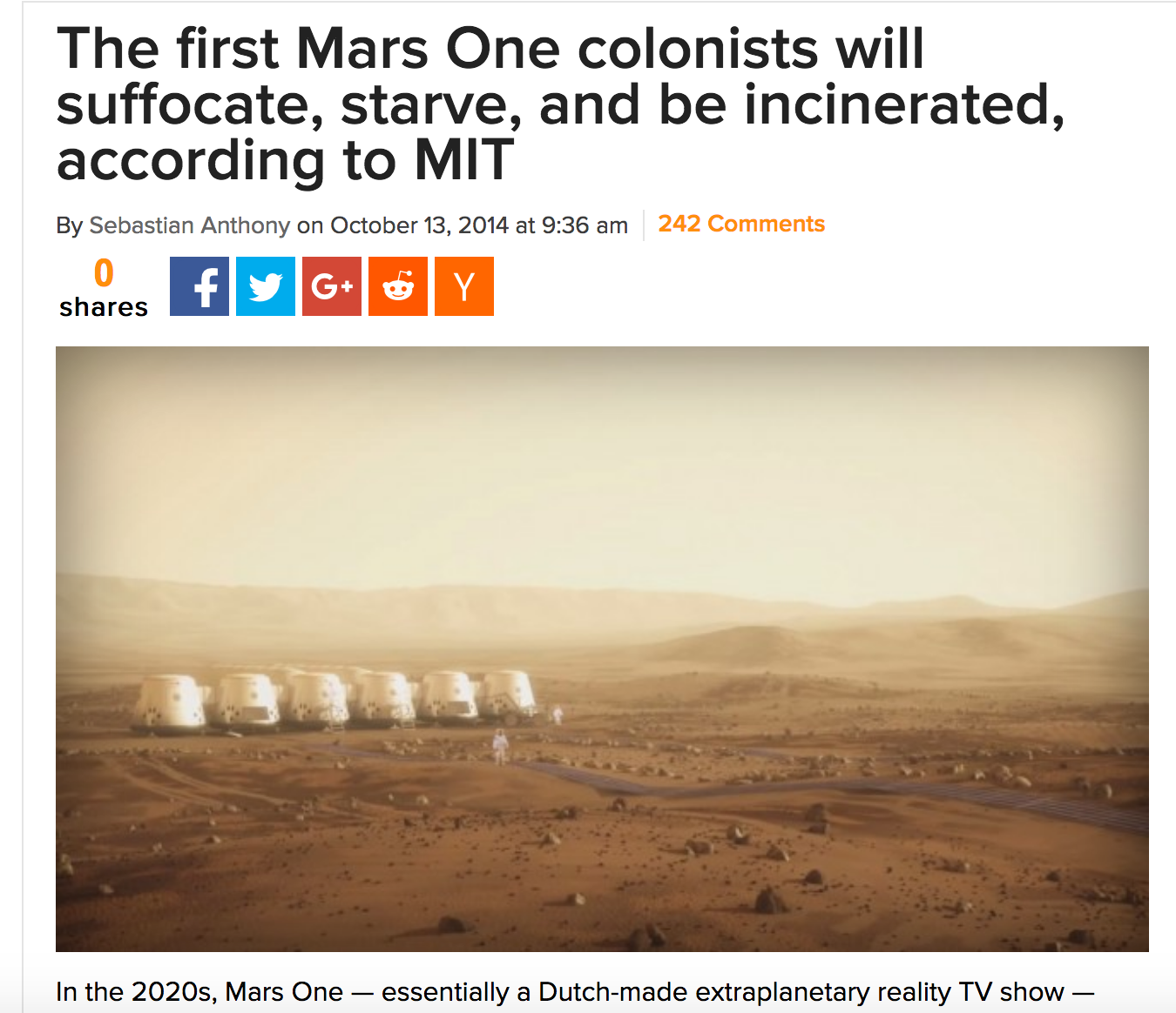 MARS ONE Reality TV - Danger Confirmed by MIT