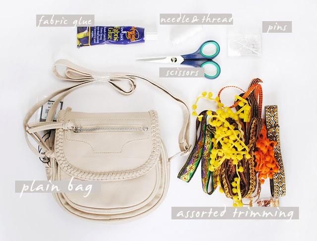 DIY Pom Pom Embellished Bag