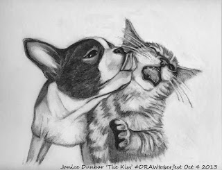 Final Dog Kissing Cat Pencil Drawing - The Kiss