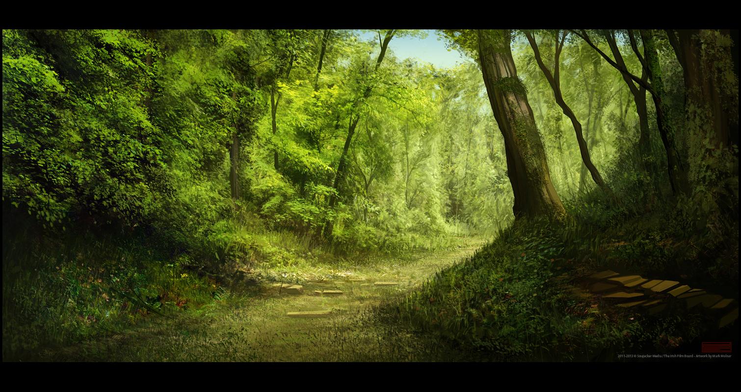 Dark forest background animated