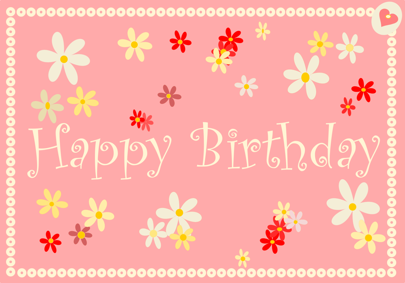 antique pink happy birthday card