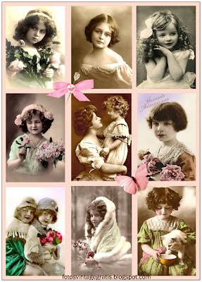 fotos de niñas antiguas en collage