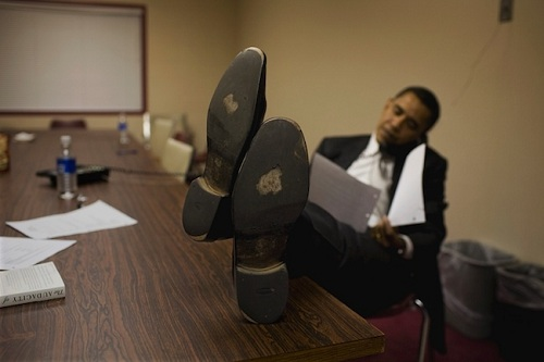 Obama with feet on table