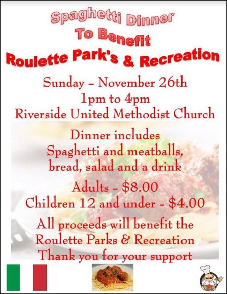 11-26 Roulette Park's & Recreation Spaghetti Dinner