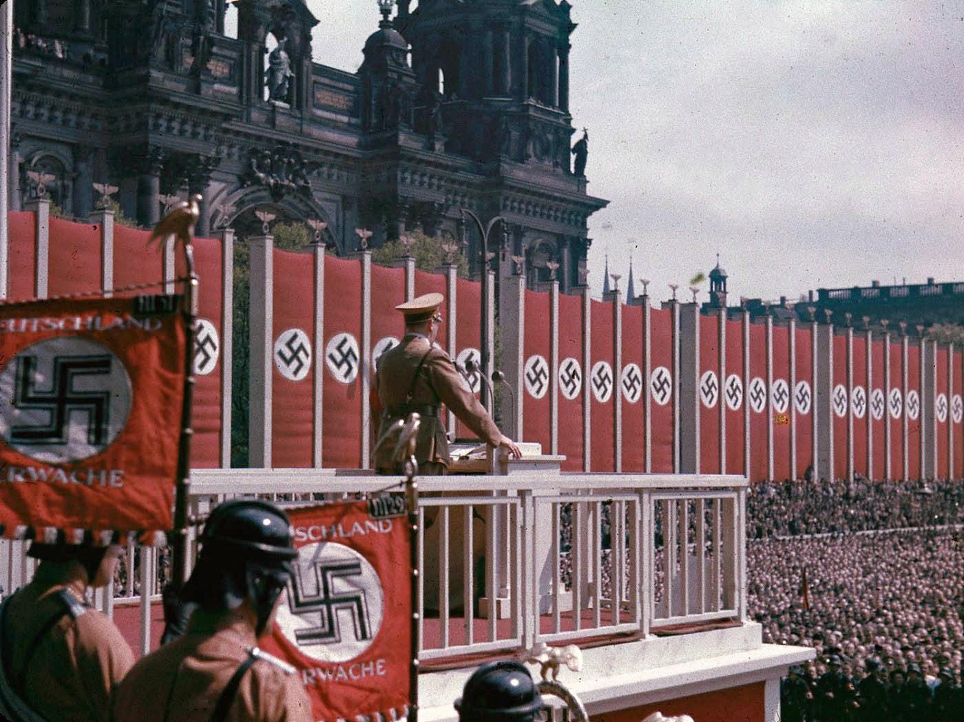 Adolf Hitler speaking at the Lustgarten, Berlin, 1938.