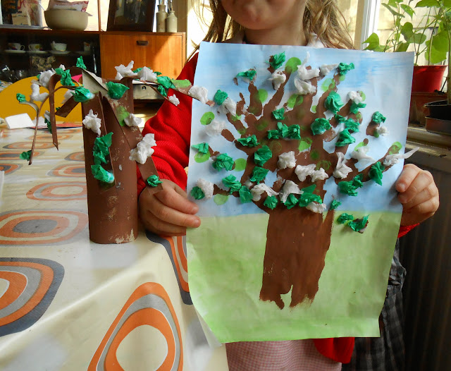 kids painted craft tree